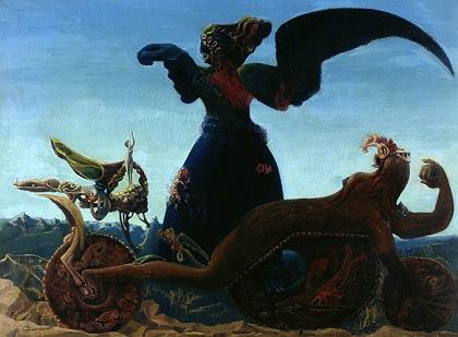 Max Ernst (1891 - 1976) Le triomphe de l'amour / fausse allégorie (Der Triumph der Liebe / falsche Allegorie) 1937 Oil on canvas, 54.5 x 73.5 cm