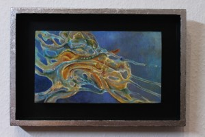 """Antenae"", oil on wood, mounted in a hand decorated frame, 30 x 20 cm."