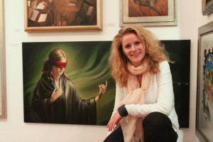 Kathrina Sofie with her artwork