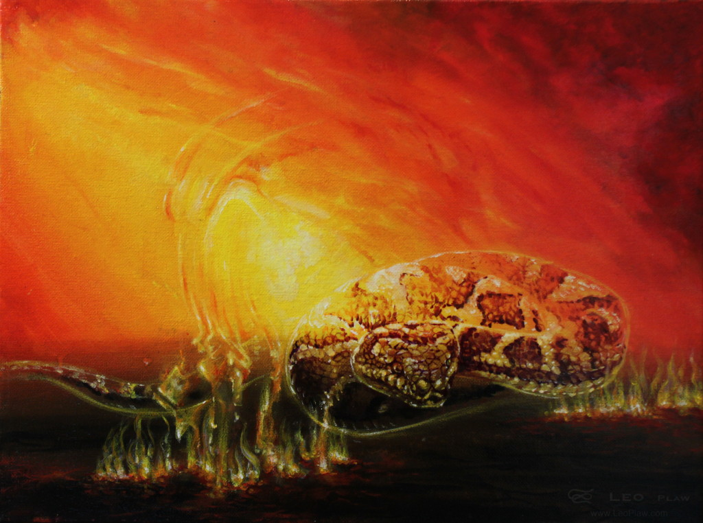 """Feuerschlange"", Leo Plaw, 40 x 30 cm, acrylic on canvas"