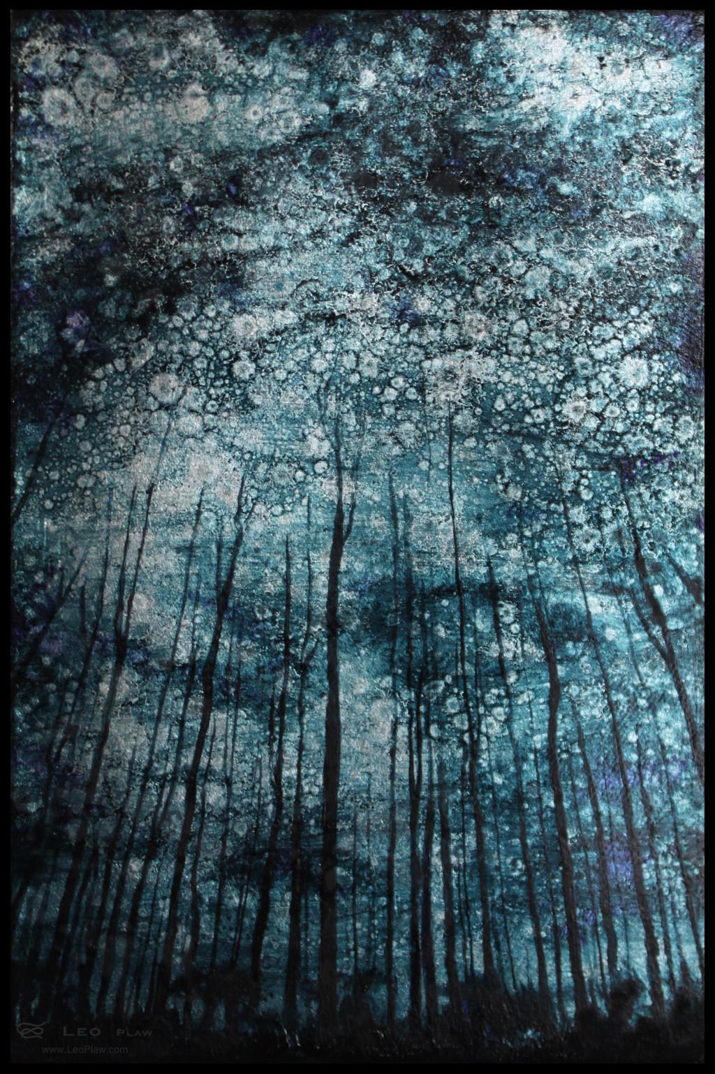 """Trees I"", 20 x 30 cm, oils on leaf metal and canvas"