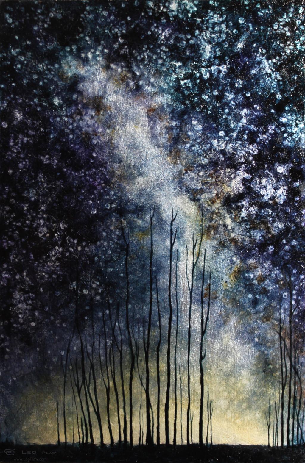 """Trees III"", 20 x 30 cm, oil on leaf metal and canvas"