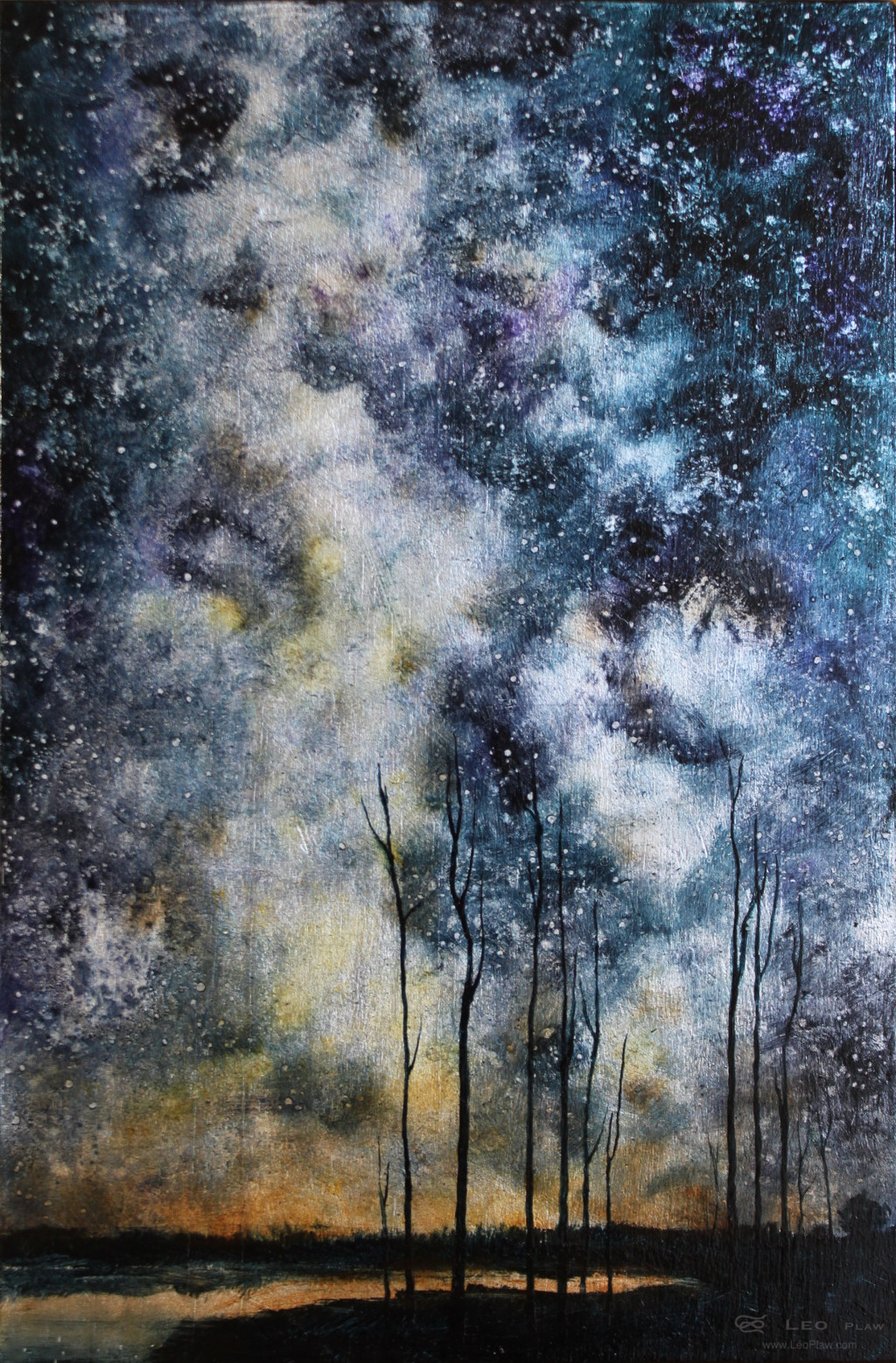 """Trees IV"", 20 x 30 cm, oil on leaf metal and wood"