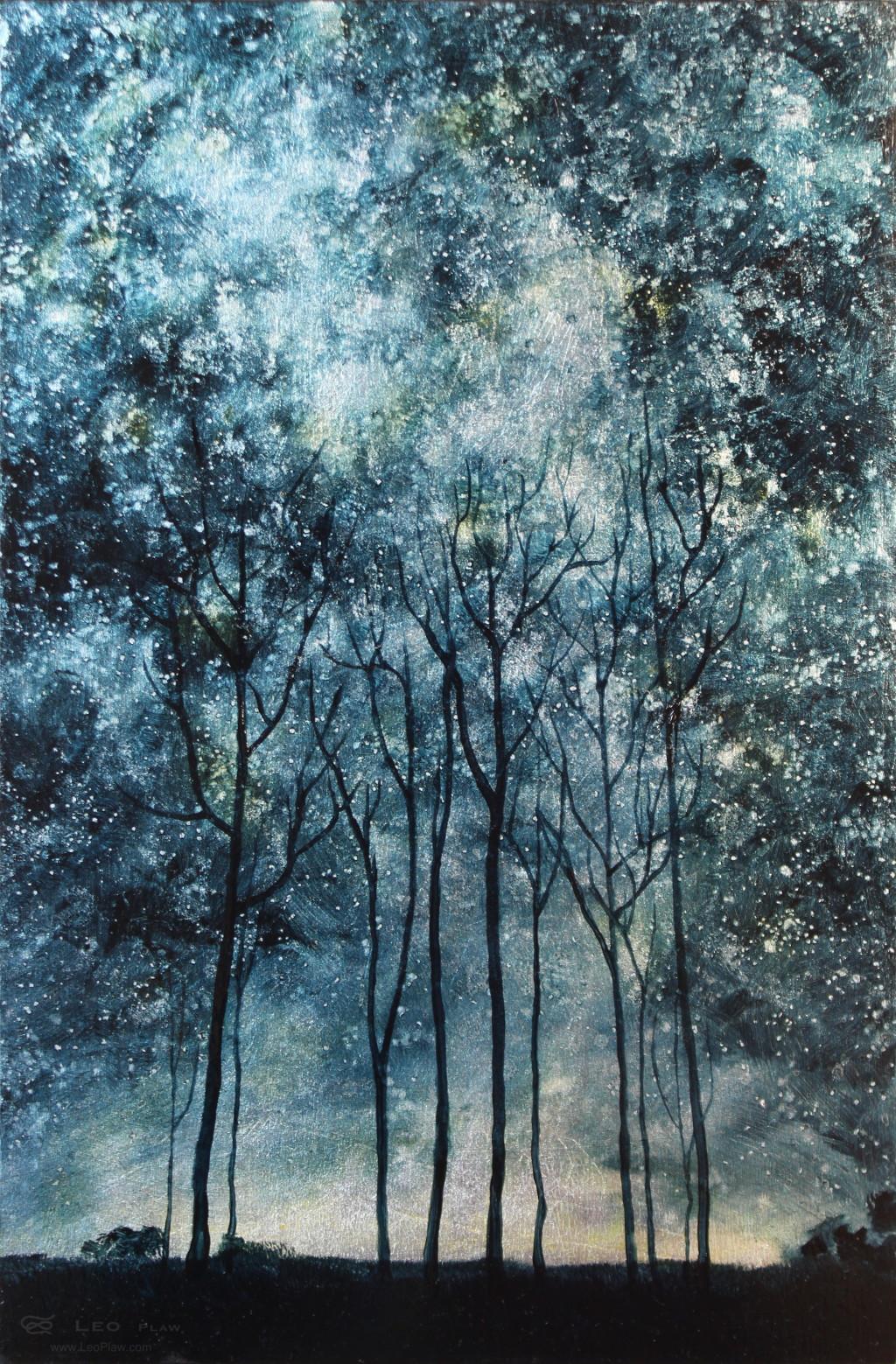 """Trees V"", Leo Plaw, 20 x 30cm, oil on leaf metal and wood"
