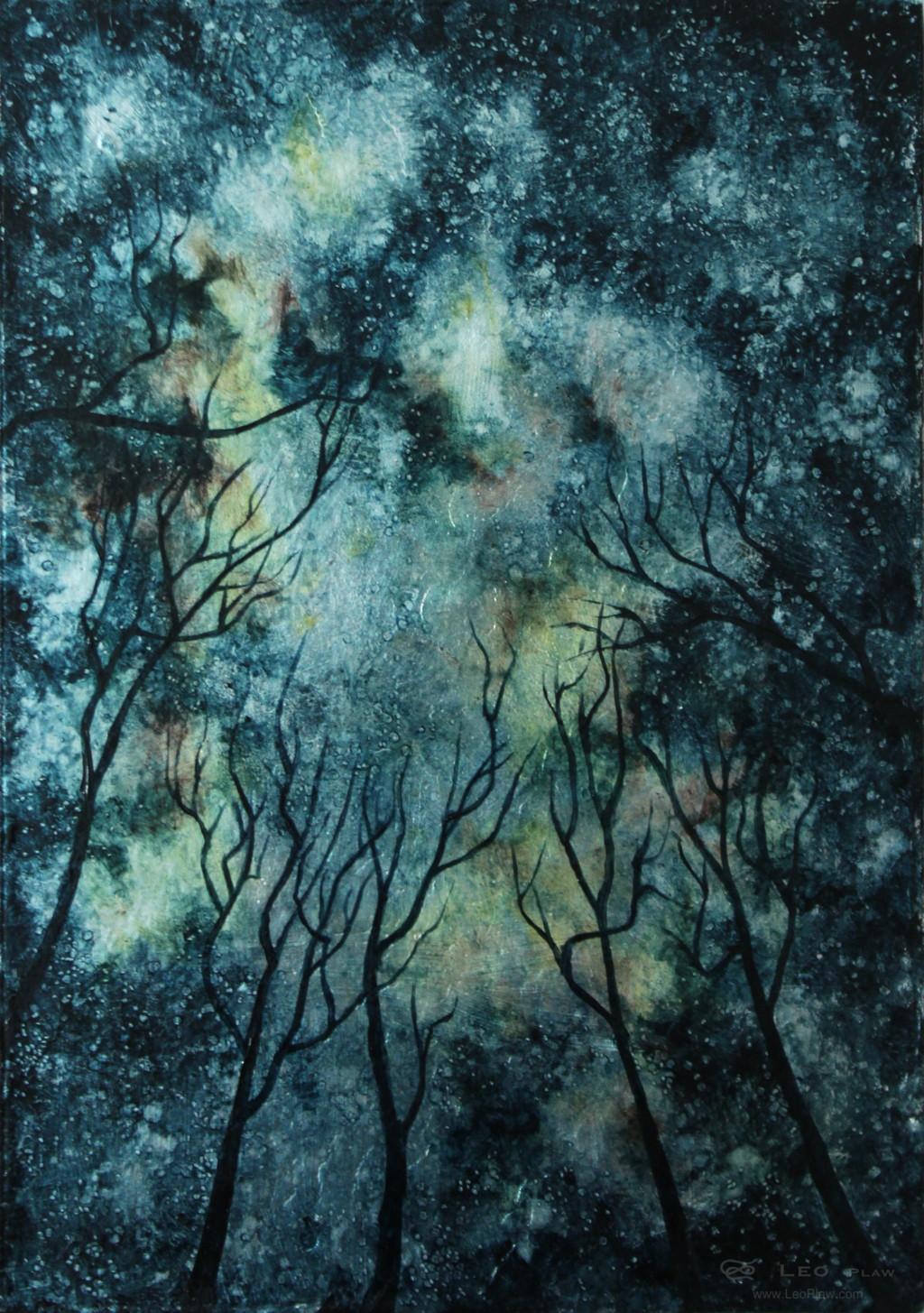 """""""Trees VIII"""", Leo Plaw, 21 x 30cm, oil on leaf metal and wood"""