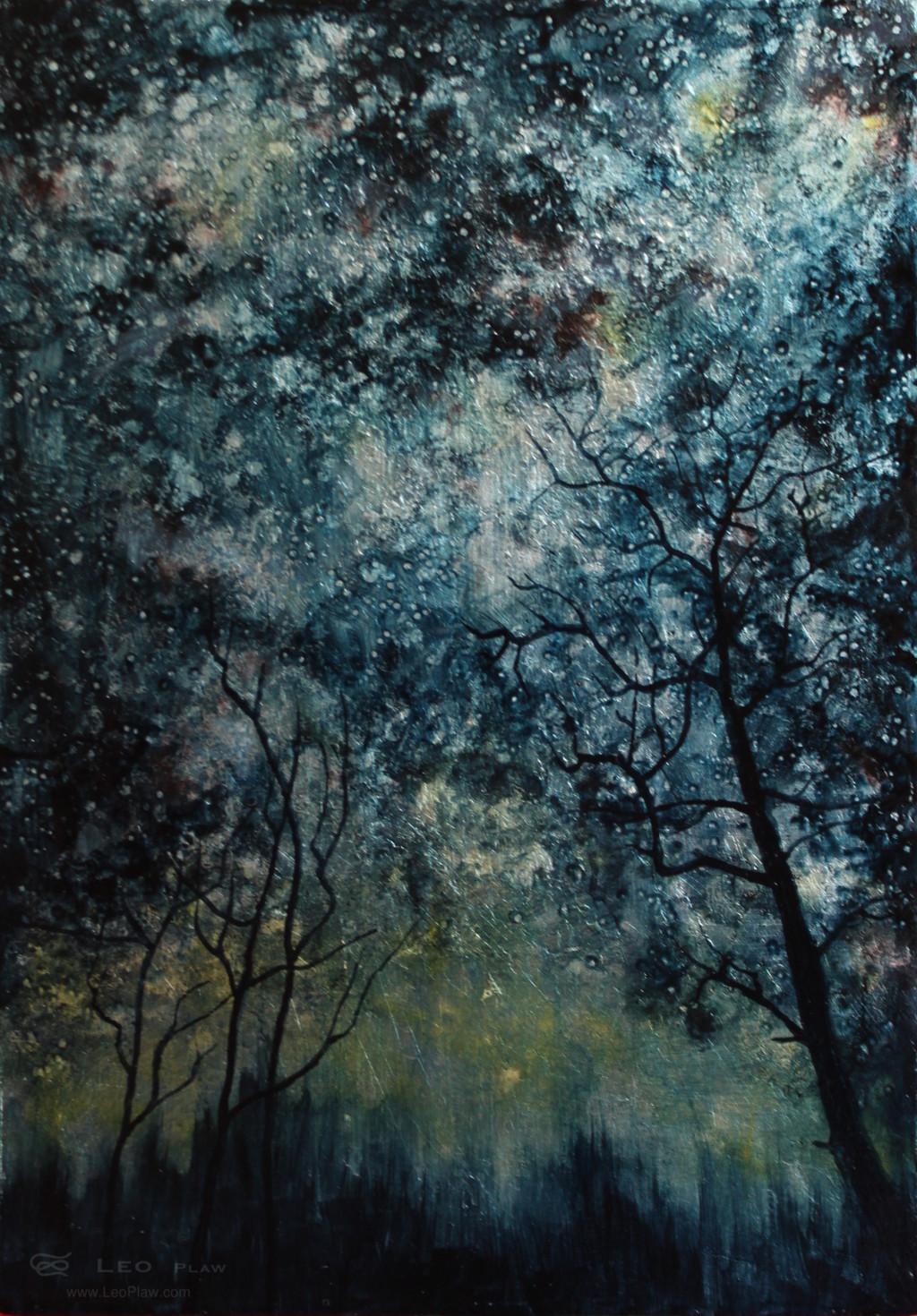 """""""Trees IX"""", 21 x 30cm, oil on leaf metal and wood"""