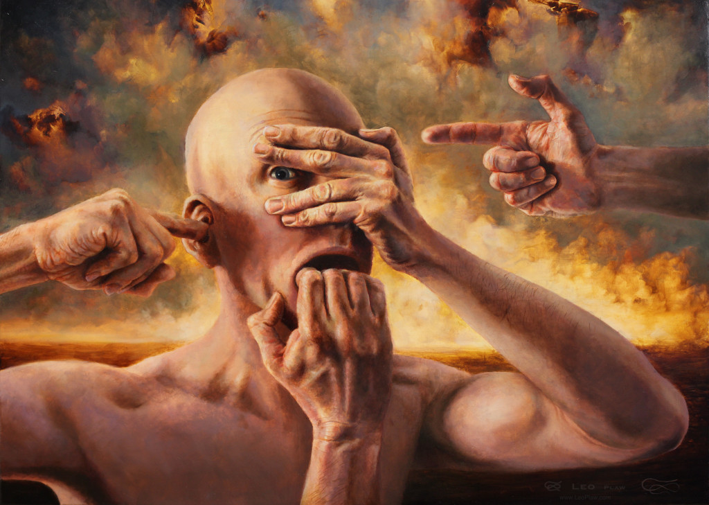 """Hear See Speak Think No Evil"", Leo Plaw, 70 x 50cm, oil on canvas"