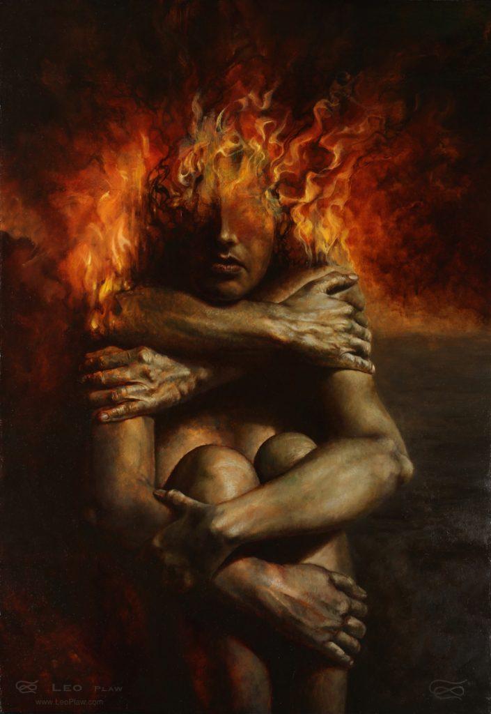 """Embrace"", Leo Plaw?, 50 x 70cm, oil on canvas"