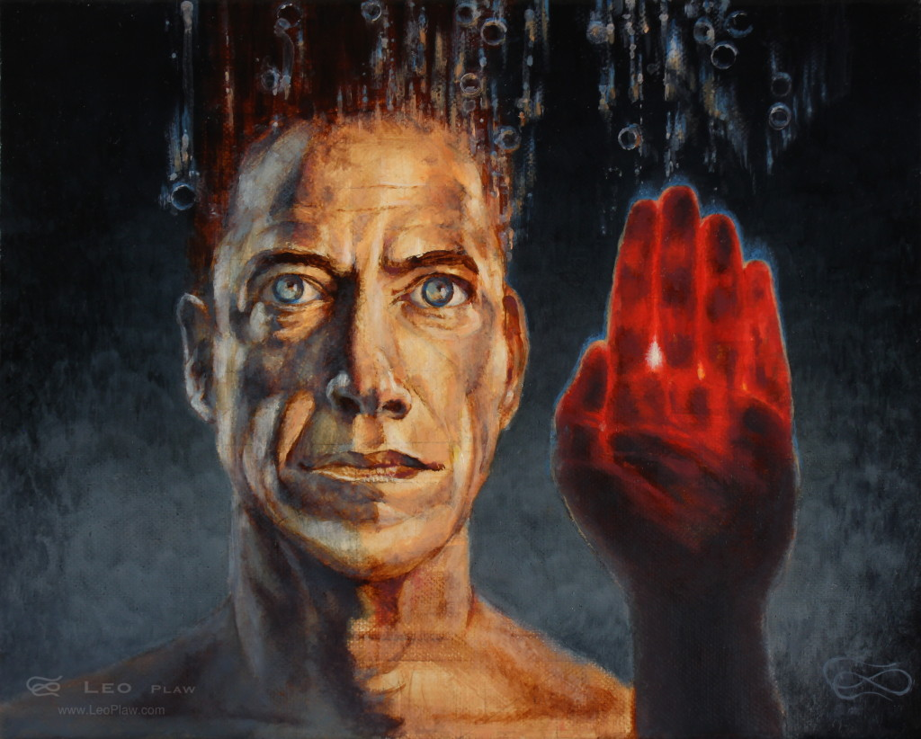 """Open Hand"", Leo Plaw, 30 x 34cm, oil on canvas"