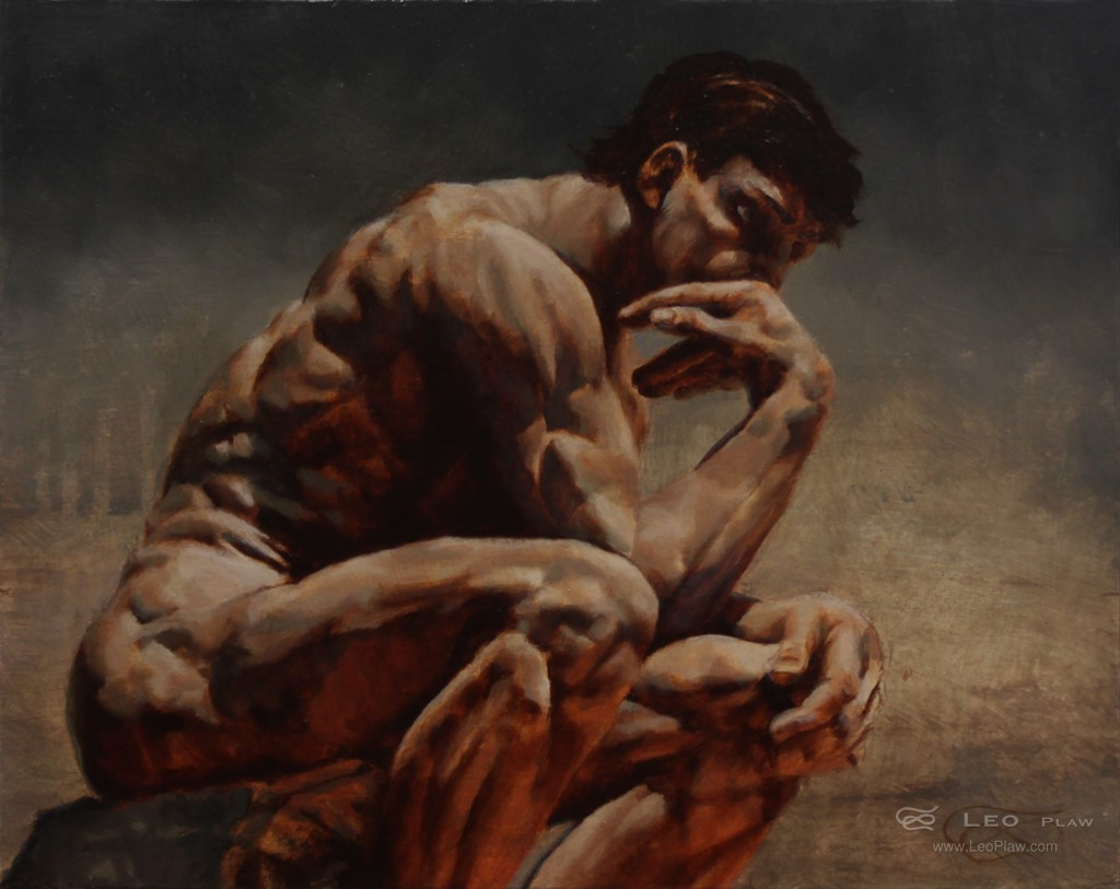 """""""Pondering"""", Leo Plaw, 30 x 24cm, oil on canvas"""