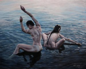 """Bathers"", Leo Plaw, 50x40cm, oil on canvas"