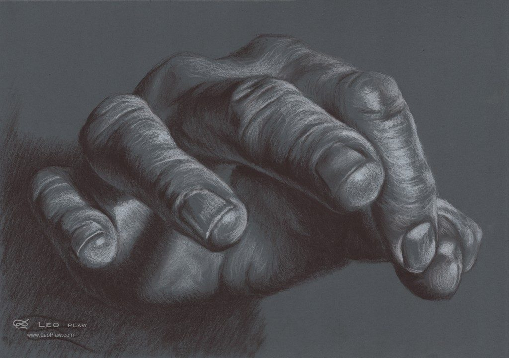 """Hand Study 13"", Leo Plaw, 34x24cm, oil on canvas"