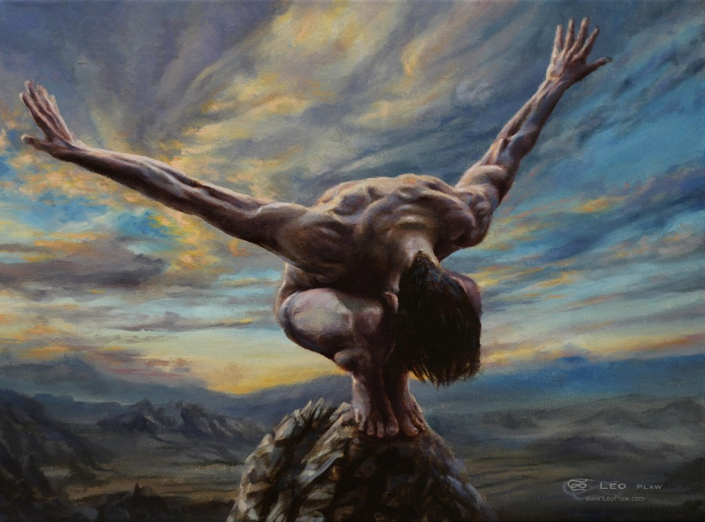 """Icarus in Training"", Leo Plaw, 40x30cm, oil on canvas"