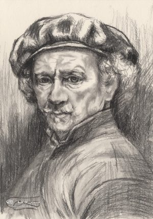 """Rembrandt"", Leo Plaw, 24x34cm, pencil and charcoal on paper"