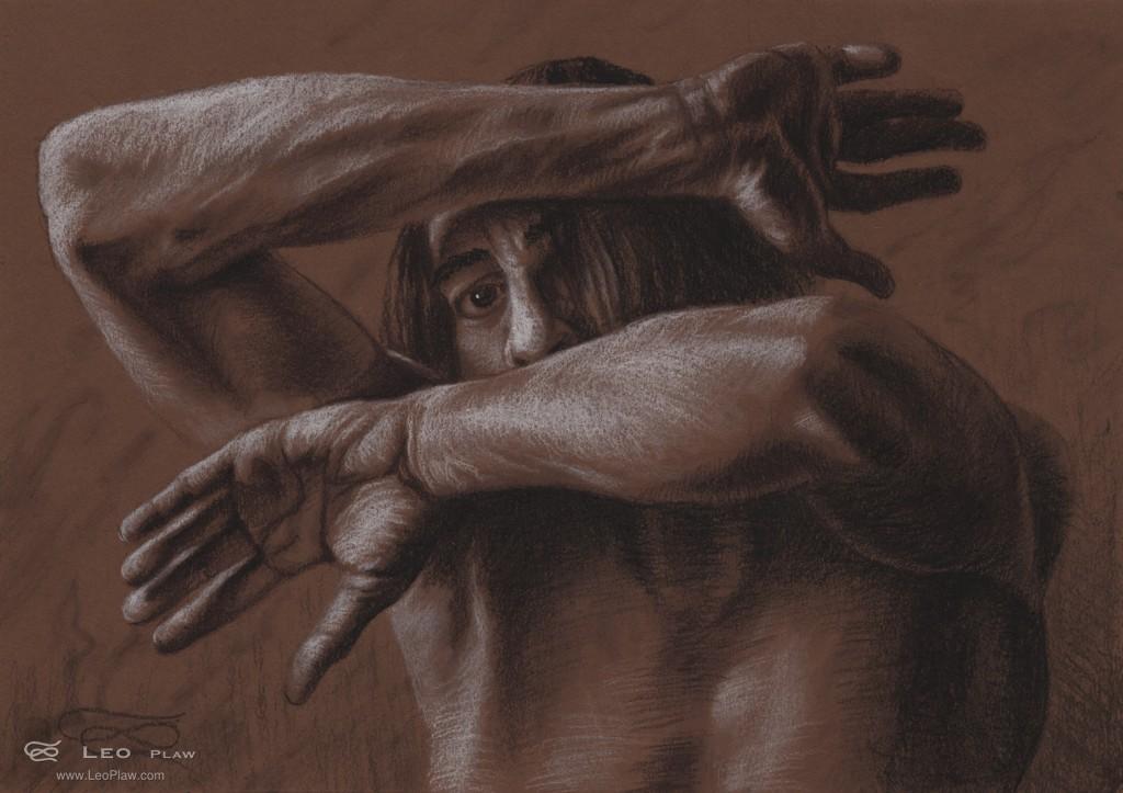 """Figure 07"", Leo Plaw, 34x24cm, pencil on paper"
