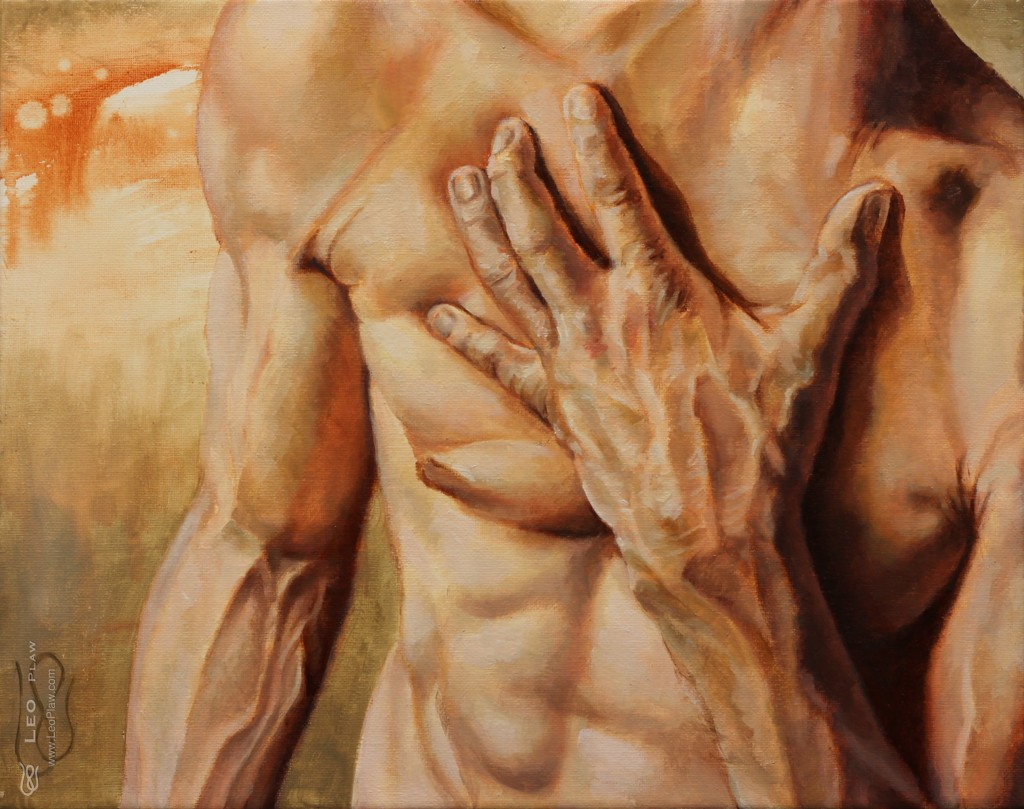 """Off Your Chest"", Leo Plaw, 30 x 24cm, oil on canvas"