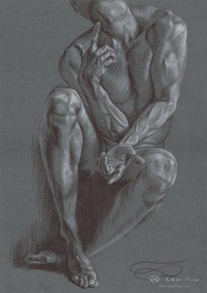 Philosopher (sketch), Leo Plaw, 24x34cm, pencil on paper