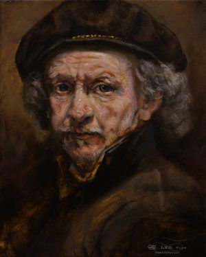 Rembrandt (portrait study), Leo Plaw, 24 x 30cm, oil on canvas