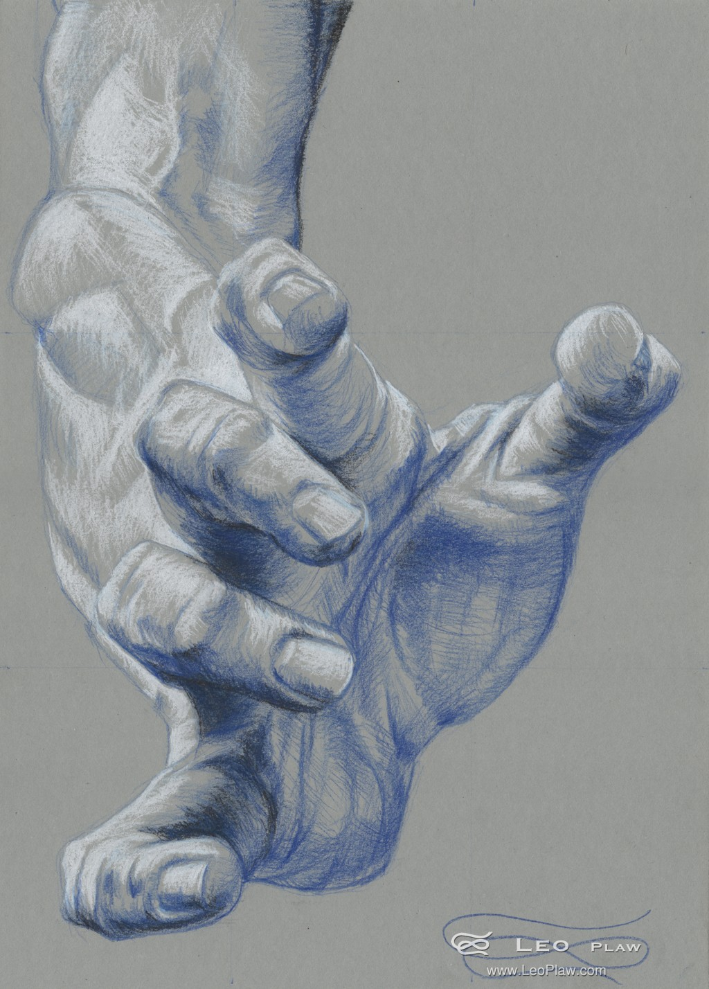 """Hand Study 14"", Leo Plaw, 24 x 34cm, pencil on paper"