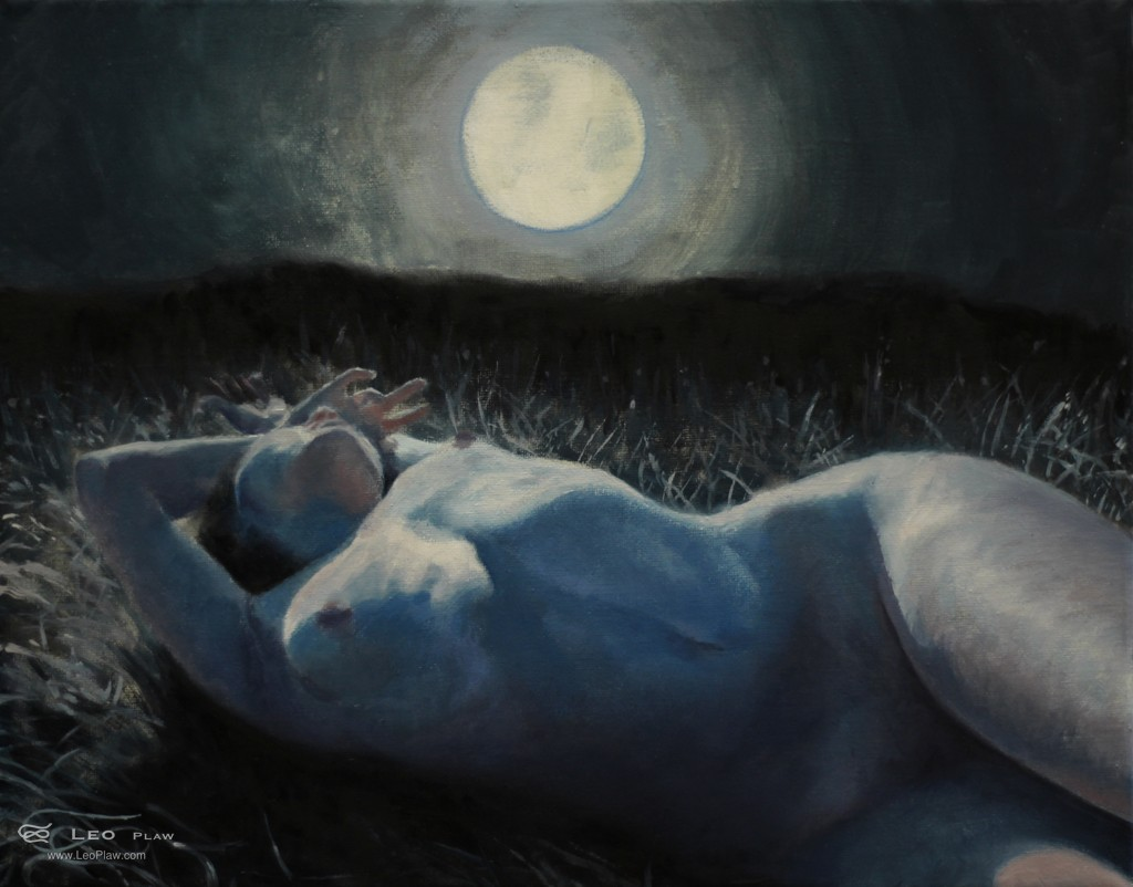 """Moonbathing"", Leo Plaw, 30 x 24cm, oil on canvas"