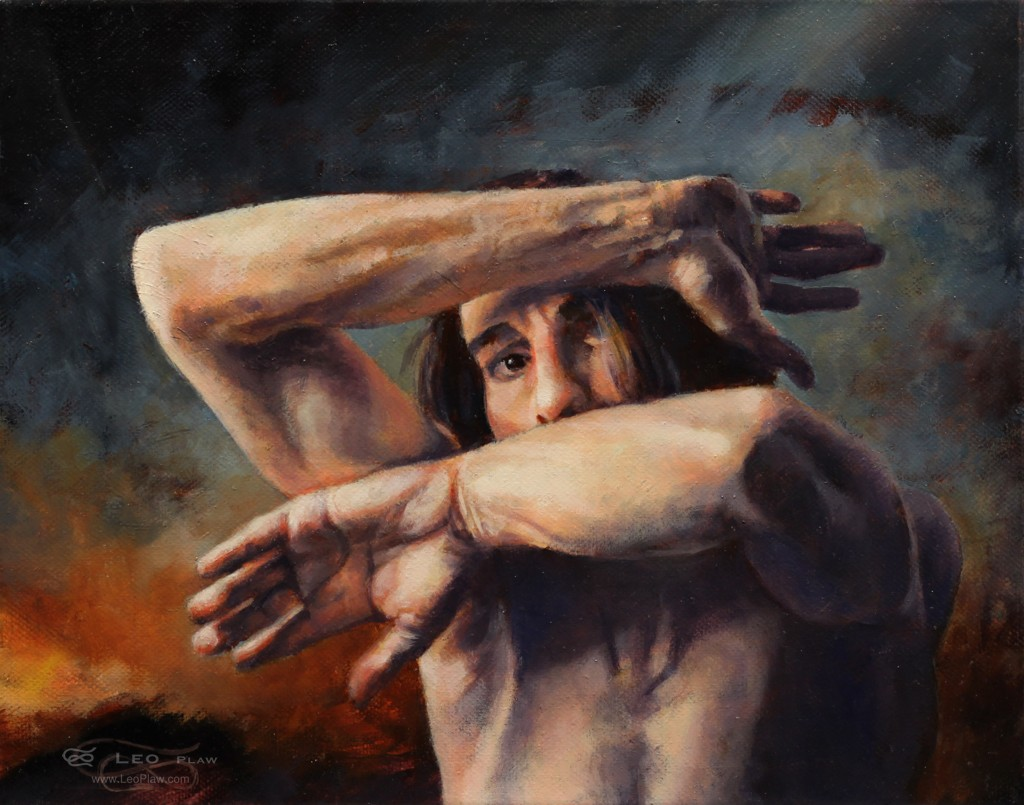"""Out of My Face"", Leo Plaw, 30 x 24cm, oil on canvas"