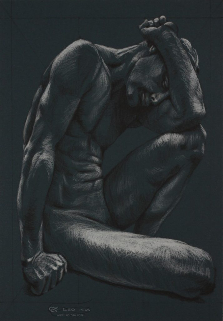 Figure 14, Leo Plaw, 24 x 34cm, pastel pencil on coloured paper