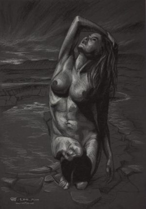 Figure 16, Leo Plaw, 24 x 34cm, pastel pencil on coloured paper.