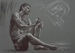 Figure 17, Leo Plaw.34 x 24cm, pastel pencil on coloured paper 300gsm