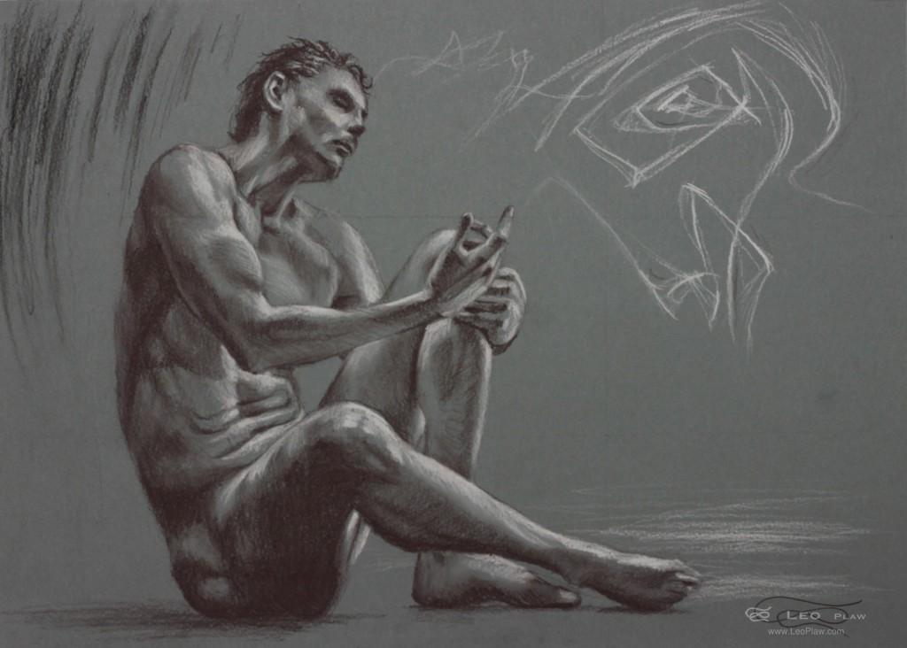 Figure 17, Leo Plaw.34 x 24cm, pastel pencil on coloured paper 300gsm
