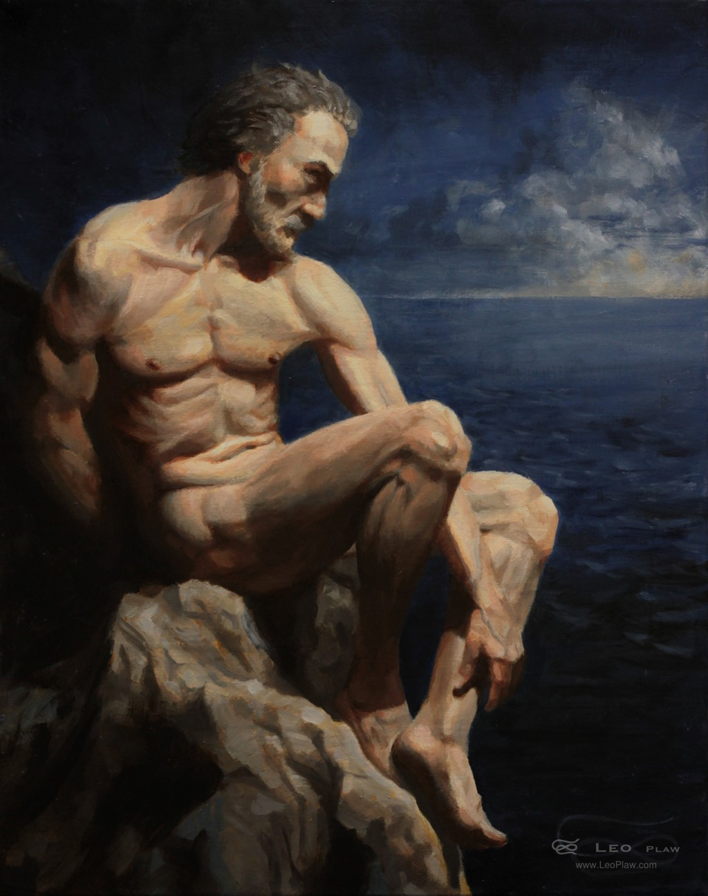 """Marooned Mariner"", Leo Plaw, 24 x 30cm, oil on canvas"