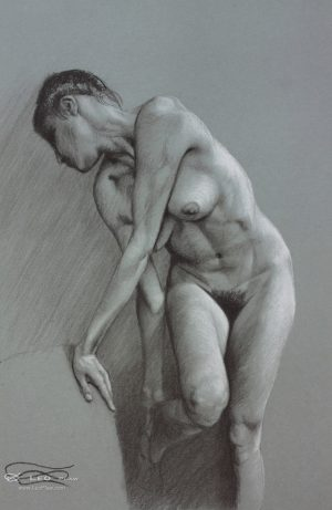 """Figure 21"", Leo Plaw, 24 x 34cm, pastel pencil on paper"