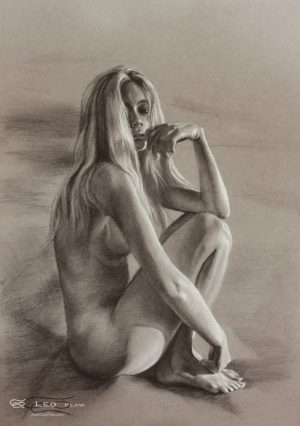 """Figure 20"", Leo Plaw, 24 x 34cm, pastel pencil on paper"