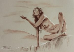 """Figure 22"", Leo Plaw, 34 x 24cm, pastel pencil on paper"
