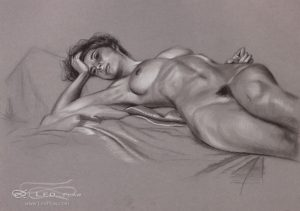 """Figure 23"", Leo Plaw, 34 x 24cm, pastel pencil on paper"