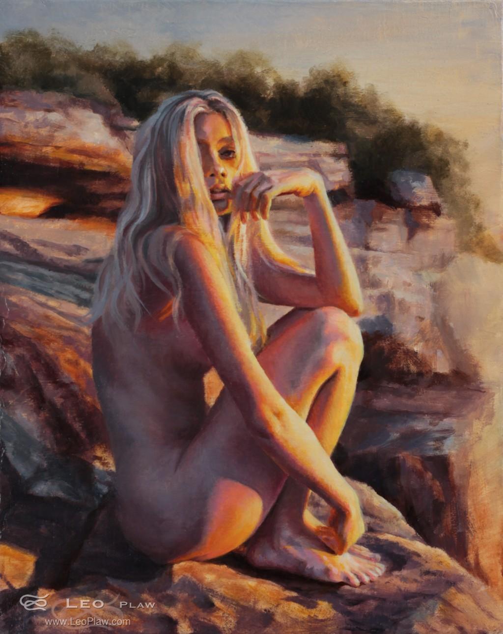 """Golden Light"", Leo Plaw, 24 x 30cm, oil on canvas"