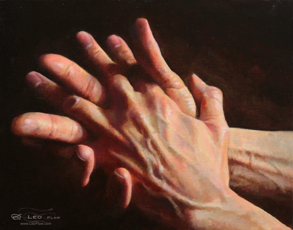 """Hands 04"", Leo Plaw, 30 x 24cm, oil on canvas"