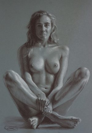 """Figure 24"", Leo Plaw, 24 x 34cm, pastel pencil on paper"