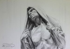 """Figure 25"", Leo Plaw, 34 x 24cm, graphite pencil on paper"