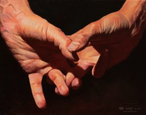 """Hands 07"", Leo Plaw, 30 x 24cm, oil on canvas"
