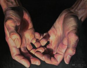 """Hands 05"", Leo Plaw, 30 x 24cm, oil on canvas"