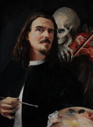 """""""Not Now Death, I'm Painting"""", Leo Plaw, 30 x 40cm, oil on canvas"""
