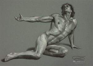 """Figure 26"", Leo Plaw, 34 x 24cm, pastel pencil on paper"