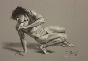"""Figure 27"", Leo Plaw, 34 x 24cm, pastel pencil on paper"