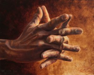 """Hands 03"", Leo Plaw, 30 x 24cm, oil on canvas"