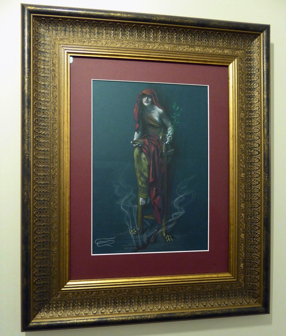 """""""Oracle of Delphi"""" drawing framed"""