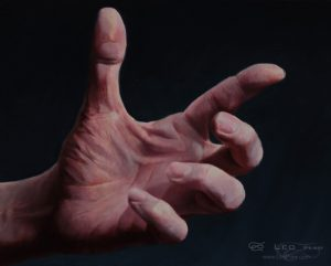 """Hands 28"", Leo Plaw, 30 x 24cm, oil on canvas"