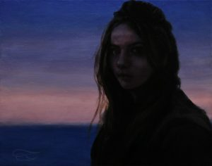 """""""Out of the Blue"""", Leo Plaw, 30 x 24cm, oil on canvas"""
