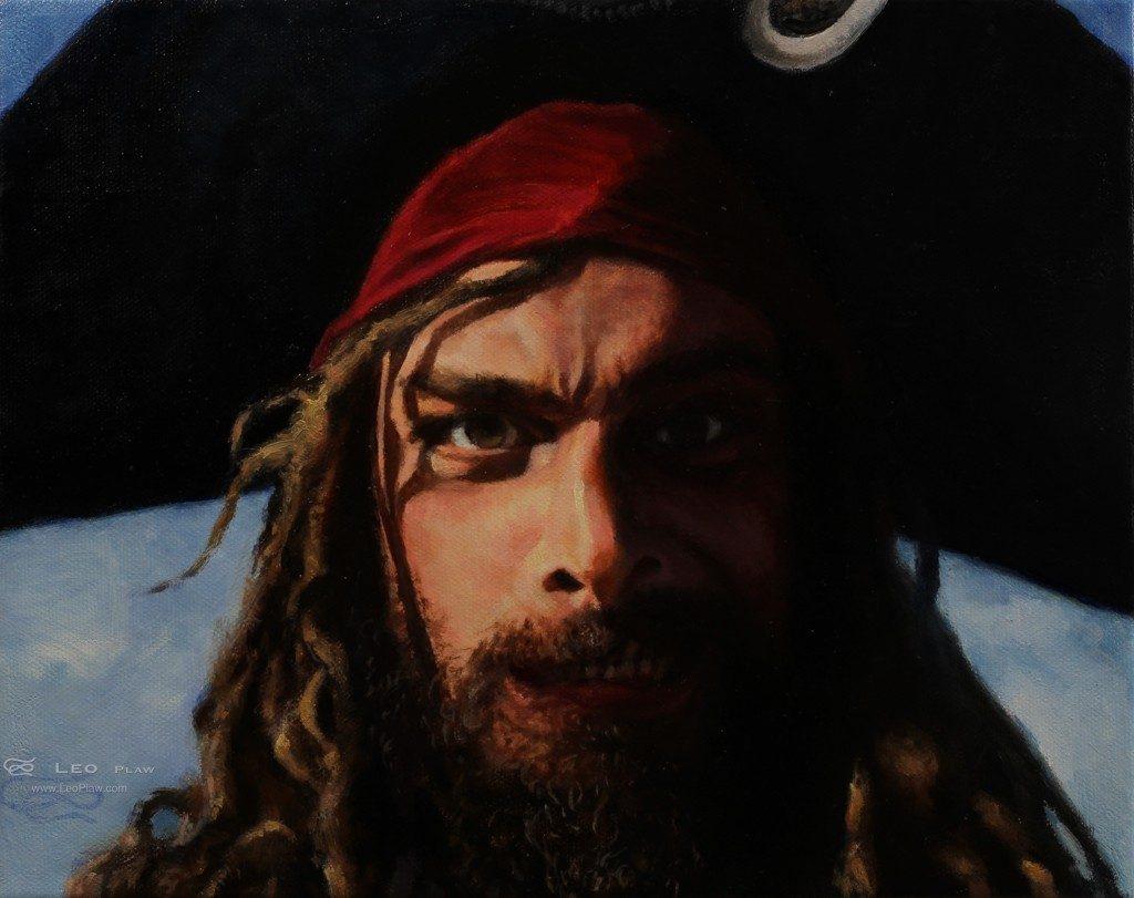 """Ratschu Pikatschu Captian"", Leo Plaw, 30 x 24cm, oil on canvas"