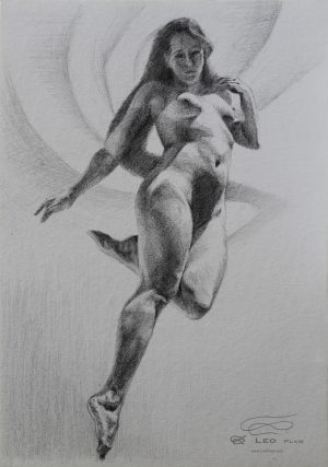 """Figure 29"", Leo Plaw, 24 x 34cm, graphite pencil on paper"