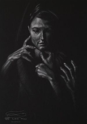"""Figure 30"", Leo Plaw, 24 x 34cm, pastel pencil on paper"